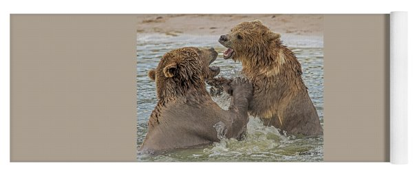 Brown Bears Fighting Yoga Mat