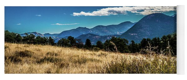 Brown Grass And Mountains Yoga Mat