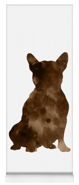 Brown Silhouette Of A Sitting Frenchie Yoga Mat