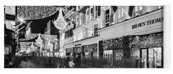 Yoga Mat featuring the photograph Brown Thomas On Grafton Street At Night - Dublin by Barry O Carroll