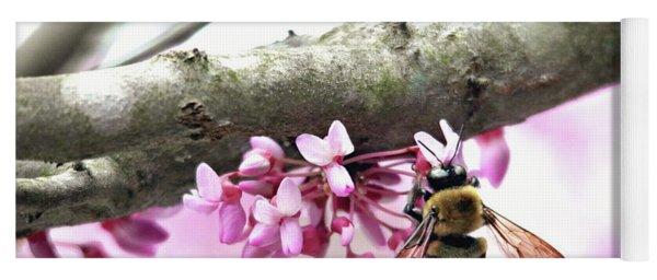 Bumblebee On Redbud Flower Yoga Mat