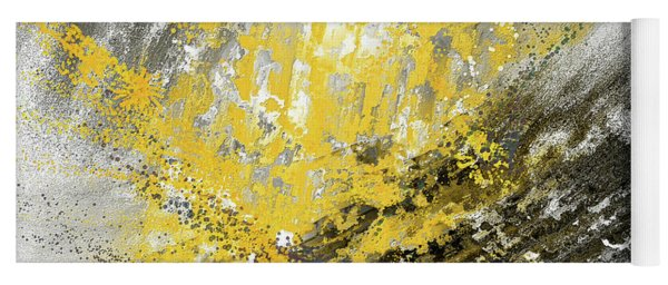 Burst Of Sun - Yellow And Gray Contemporary Art Yoga Mat