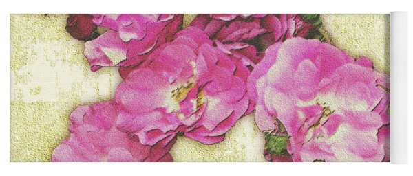 Bush Roses Painted On Sandstone Yoga Mat