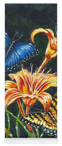 Butterflies And Flowers Sketch Yoga Mat