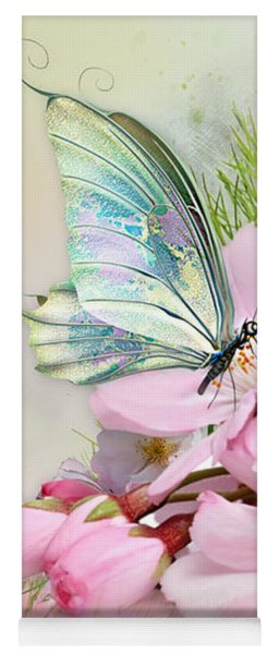 Butterfly On Cherry Blossom Yoga Mat