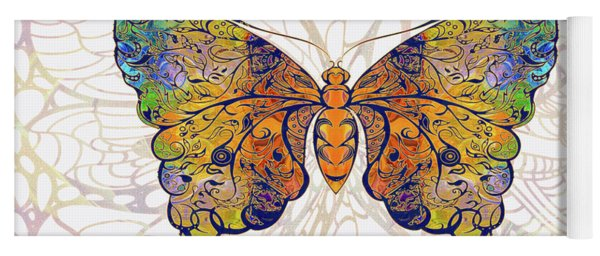 Butterfly Zen Meditation Abstract Digital Mixed Media Artwork By Omaste Witkowski Yoga Mat