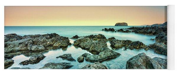 Calm Rocky Coast In Greece Yoga Mat