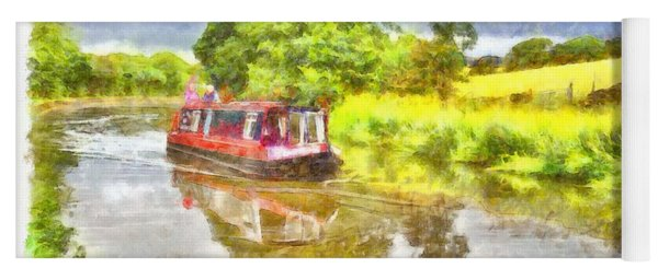 Canal Boat On The Leeds To Liverpool Canal Yoga Mat