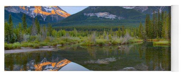Canmore Alberta Glowing Mountain Peaks Yoga Mat