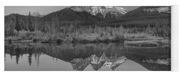 Canmore Alberta Glowing Mountain Peaks Black And White Yoga Mat