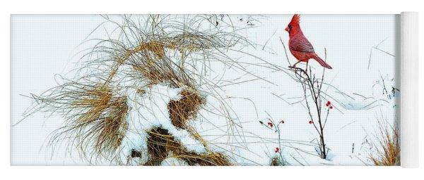 Cardinal Angel In The Snow Yoga Mat