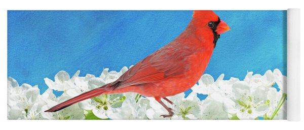 Cardinal In The Blooming Tree Yoga Mat