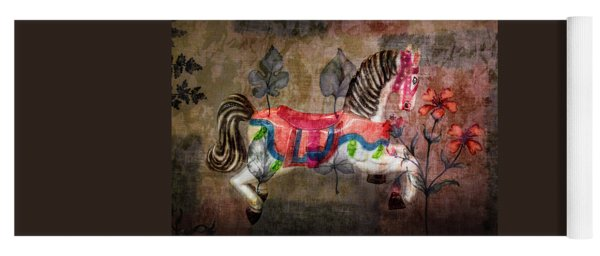 Yoga Mat featuring the photograph Carousel Prancing Dream by Michael Arend
