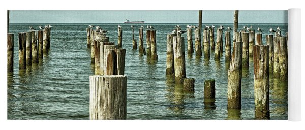 Yoga Mat featuring the photograph Casino Pilings At Cape Charles Virginia by Bill Swartwout Fine Art Photography