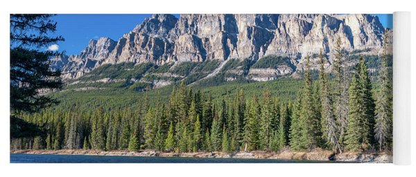 Castle Cliffs From The Bow River Yoga Mat