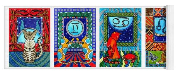 Cat Zodiac Paintings  Yoga Mat