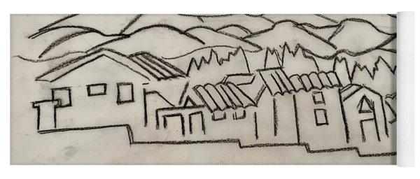 Charcoal Houses Sketch Yoga Mat