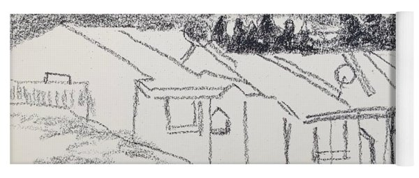Charcoal Pencil Houses1.jpg Yoga Mat