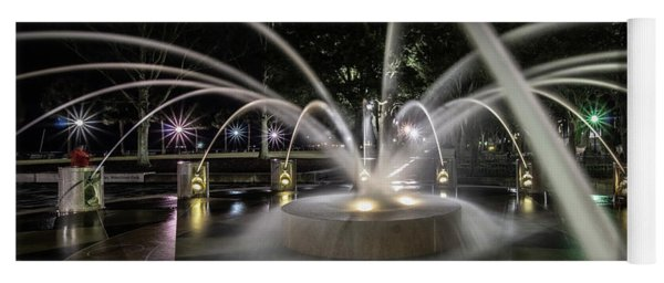 Charleston's Splash Fountain At Night Yoga Mat