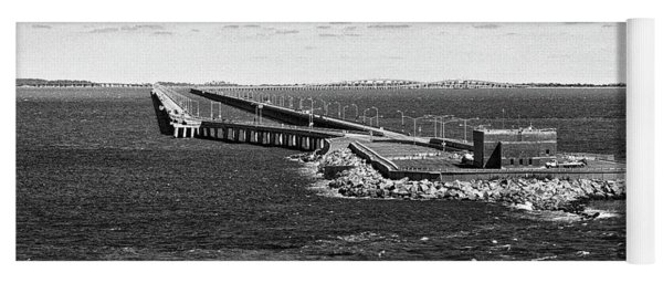 Yoga Mat featuring the photograph Chesapeake Bay Bridge Tunnel E S V A Black And White by Bill Swartwout Fine Art Photography