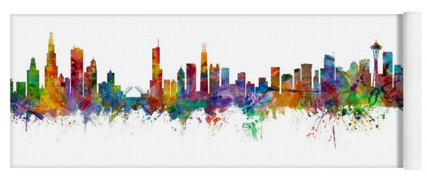 Chicago And Seattle Skylines Mashup Yoga Mat
