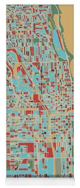 Chicago Map Retro 3 Yoga Mat