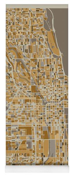 Chicago Map Retro 4 Yoga Mat