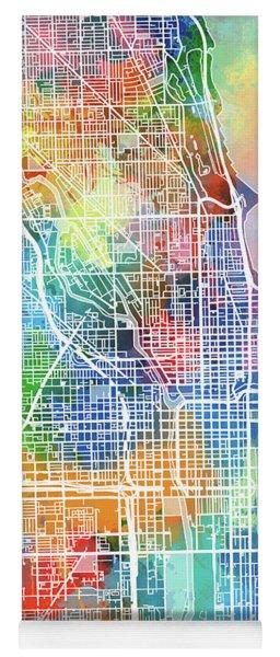 Chicago Map Watercolor Yoga Mat