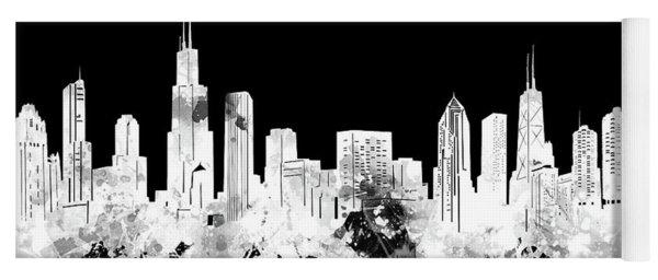 Chicago Skyline Black And White 2 Yoga Mat
