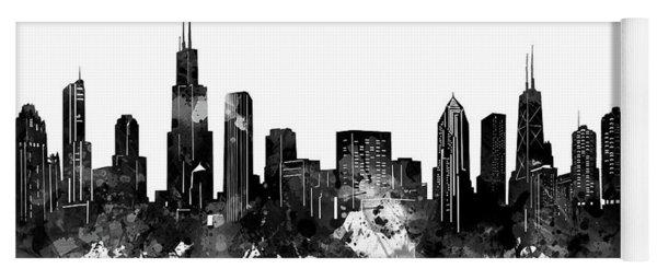 Chicago Skyline Black And White Yoga Mat