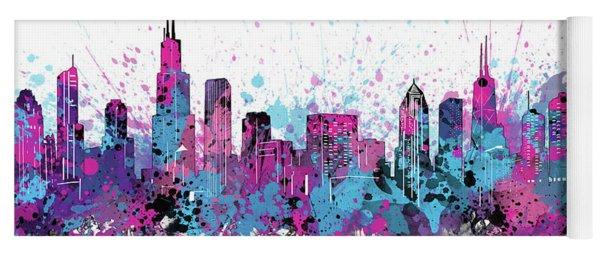 Chicago Skyline Color Splatter Yoga Mat