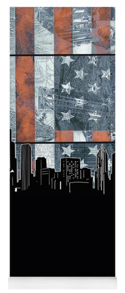 Chicago Skyline Flag 3 Yoga Mat