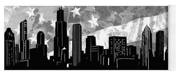 Chicago Skyline Flag Yoga Mat