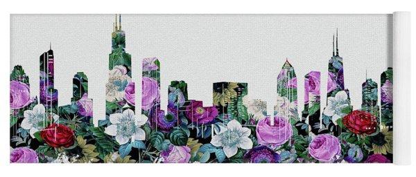 Chicago Skyline Floral Yoga Mat