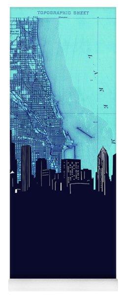 Chicago Skyline Map Blue 2 Yoga Mat
