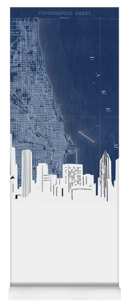 Chicago Skyline Map Blue Yoga Mat