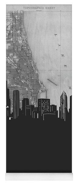 Chicago Skyline Map Grey Yoga Mat
