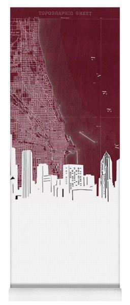 Chicago Skyline Map Red Yoga Mat