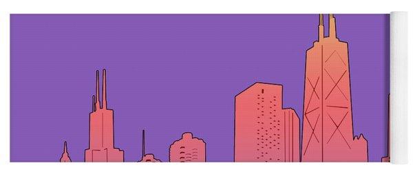 Chicago Skyline Panorama Purple Yoga Mat