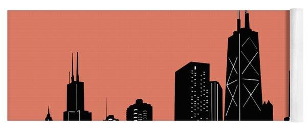 Chicago Skyline Panorama Red Yoga Mat
