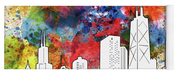 Chicago Skyline Panorama Watercolor Yoga Mat