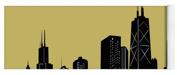 Chicago Skyline Panorama Yellow Yoga Mat