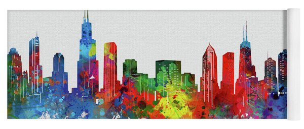 Chicago Skyline Watercolor 2 Yoga Mat