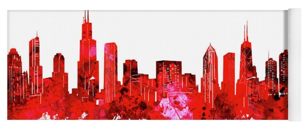 Chicago Skyline Watercolor Red Yoga Mat