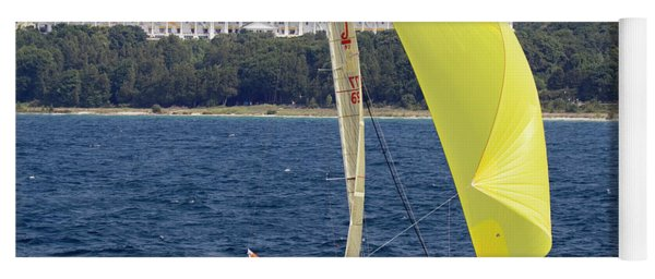 Chicago To Mackinac Yacht Race Sailboat With Grand Hotel Yoga Mat