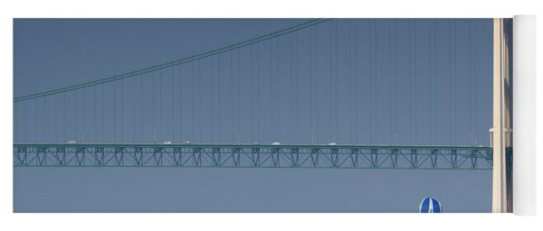 Chicago To Mackinac Yacht Race Sailboats With Mackinac Bridge Yoga Mat