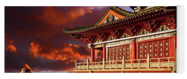 China Temple At Sunrise Yoga Mat