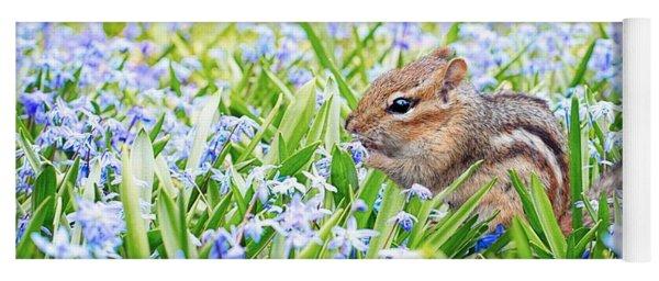 Chipmunk On Flowers Yoga Mat