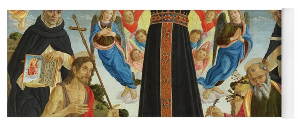 Christ On The Cross With Saints Vincent Ferrer, John The Baptist, Mark And Antoninus, 1495 Yoga Mat