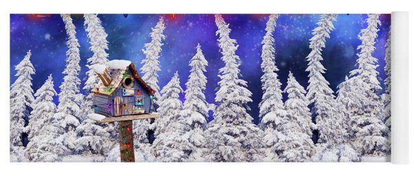 Christmas Card With Bird House Yoga Mat